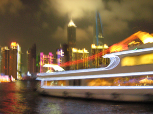 Scenic boat tour at night