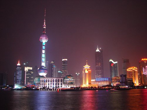 Shanghai's evening skyline